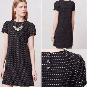 Anthropologie Polka Dot Dress Cap Sleeve